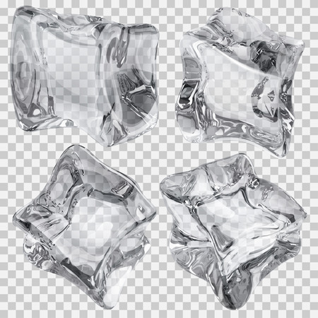 refrigerate: Set of four transparent ice cubes in gray colors. Transparency only in vector file Illustration
