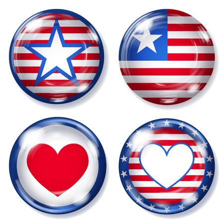 glass buttons: Set of round glass buttons with various USA symbols Illustration