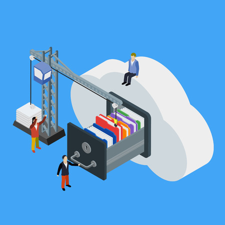 Businessman put in document drawer folder in cloud-shaped cabinet. Cloud data storage flat 3d isometric business technology server concept web vector illustration. 向量圖像
