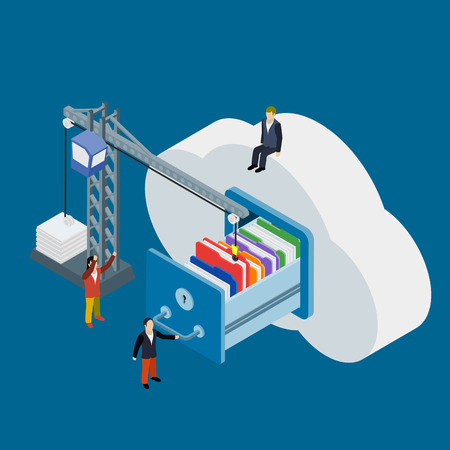 lowers: Cloud data storage flat 3d isometric business technology server concept web vector illustration. Businessman put in document drawer folder in cloud-shaped cabinet. Crane lowers a folder to the archive.