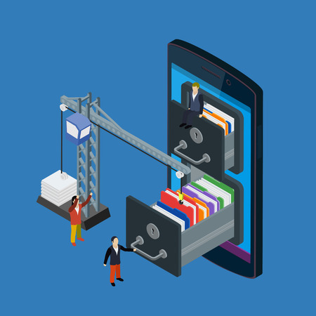 lowers: Mobile storage flat 3d isometric business technology server concept web vector illustration. Micro businessman put data folder into abstract data base server. Crane lowers a folder to the archive