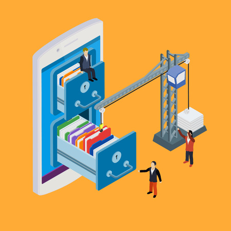 lowers: Mobile storage flat 3d isometric business technology server concept web vector illustration. Crane lowers a folder to the archive. Micro businessman put data folder into abstract data base server.