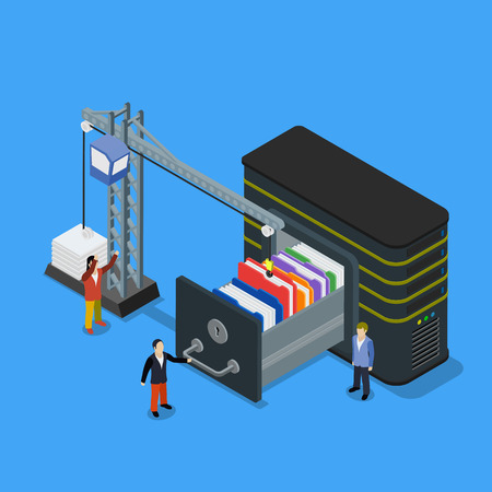 lowers: Database storage flat 3d isometric business technology server concept web vector illustration. Micro businessman put data folder into abstract data base server. Crane lowers a folder to the archive.