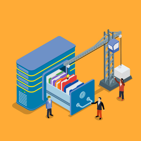lowers: Database storage flat 3d isometric business technology server concept web vector illustration. Crane lowers a folder to the archive. Micro businessman put data folder into abstract data base server.