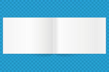 mag: blank magazine spread. landscape orientation empty A4 white paper with shadow. Isolated white paper. Illustration