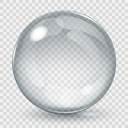 Gran esfera de cristal transparente con brillos y sombras. Sólo transparencia en el archivo vectorial