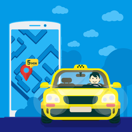 car driver: Flat yellow taxi with a driver traveling on the road. car front view. Flat mobile phone with a label on the map. Application for taxi online. Vector clipart graphics Illustration
