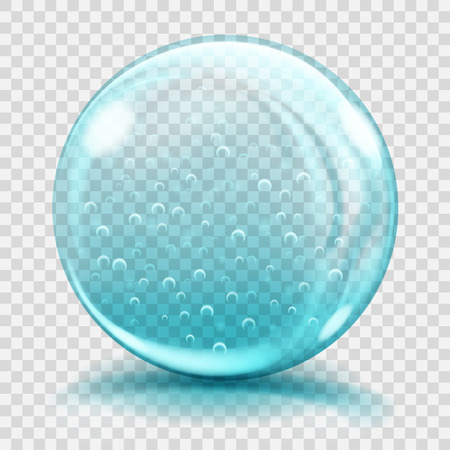 glass sphere: Big light blue glass sphere with air bubbles, glares and shadows. Transparency only in vector file