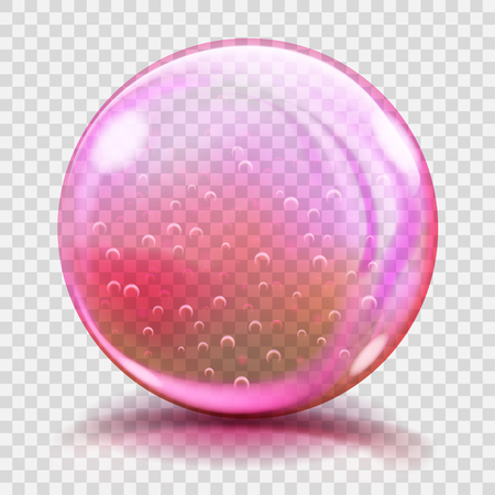 glass sphere: Big pink glass sphere with glares and shadows. Transparency only in vector file Illustration