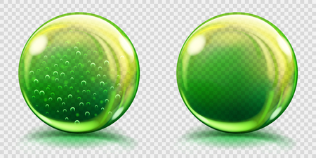 air bubbles: Two big green glass spheres with air bubbles and without, and with glares and shadows. Transparency only in vector file