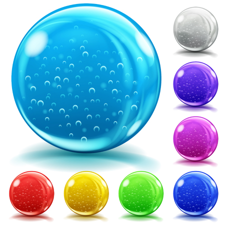 Set of opaque glass spheres of various colors with air bubbles, glares and shadows on white background Illustration