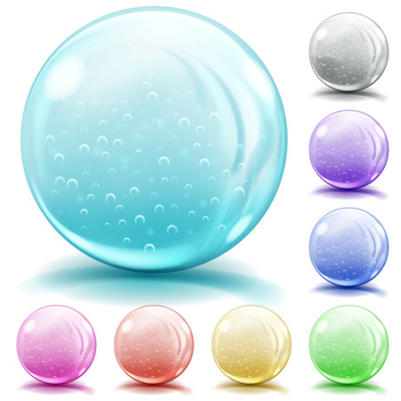 opaque: Set of opaque glass spheres of various colors with air bubbles, glares and shadows on white background Illustration