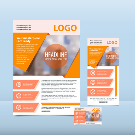 business flyer: Orange annual report with the pattern brochure flyer and business card design template. Report with infographics. Vector flyer cover presentation abstract background flat, A4 layout, 13 A4, card - Stock Vector. Illustration