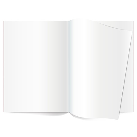spread: Vector blank magazine spread. Book Spread With Blank White Pages. Curled corner of paper with shadow. Isolated white paper. A4 brochure Open. Template magazine spread. Curled corner of paper with shadow on transparent background