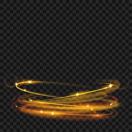 Glowing fire rings with glitter in gold colors. Light effects Çizim