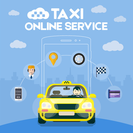 yellow car: Flat yellow taxi with a driver traveling on the road. Taxi service. Taxi online infographic icons