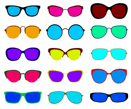 blue eyes: Set of sunglasses with different frames and glasses. Flat design