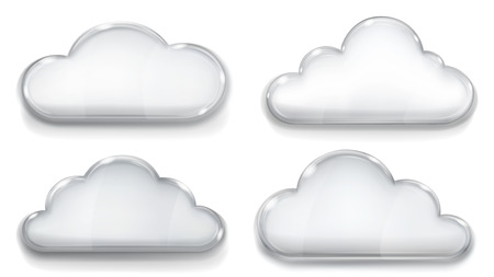 opaque: Set of opaque glass clouds in gray colors on white background Illustration