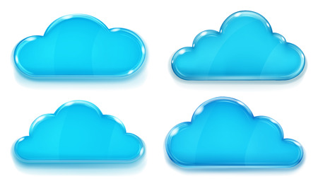 opaque: Set of opaque glass clouds in blue colors on white background