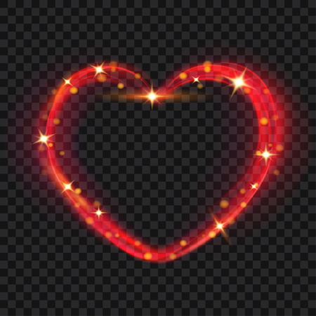 red love heart with flames: Abstract light effects in the shape of a heart in red colors Illustration