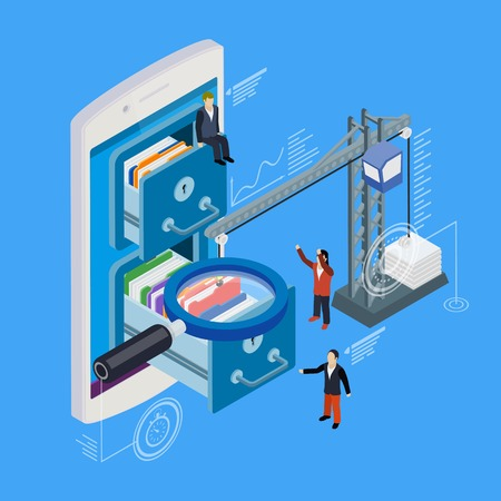 lowers: Mobile phone storage flat 3d isometric vector. Businessman put in document drawer folder in cloud-shaped cabinet. Crane lowers a folder to the archive. Futuristic virtual graphic user interface.