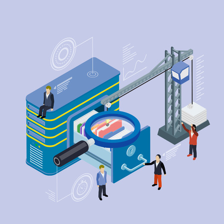 lowers: Database storage server. Flat 3d isometric vector. Businessman put in document drawer folder in cloud-shaped cabinet. Crane lowers a folder to the archive. Futuristic virtual graphic user interface.