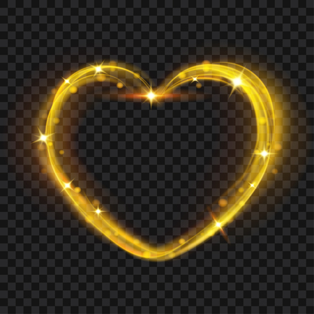 glow in the dark: Abstract light effects in the shape of a heart in gold colors