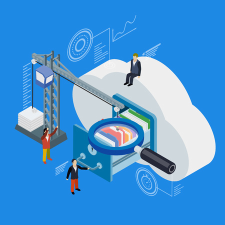 lowers: Cloud data storage flat 3d isometric. 3d flat magnifying glass. Businessman put in document drawer folder in cloud-shaped cabinet. Crane lowers a folder to the archive. Futuristic virtual graphic user interface.