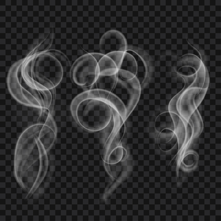 translucent: Set of translucent gray smoke. Transparency only in vector file