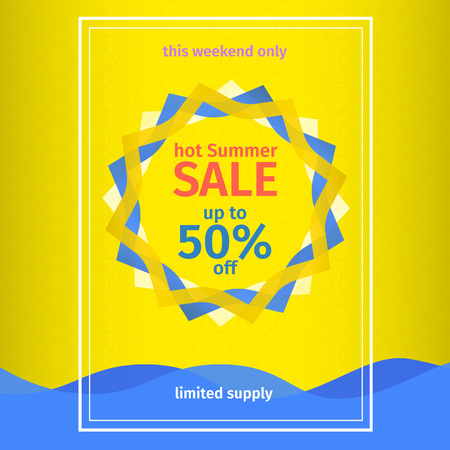 ultimate: Summer sales yellow poster. Banner template summer sales. Abstract sun and waves Illustration