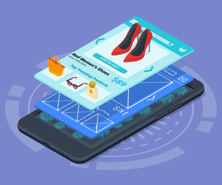 Mobile app development 3d flat isometric illustration with smartphone. The process of developing the site interface. Sketch mobile website. 3D user interface UI