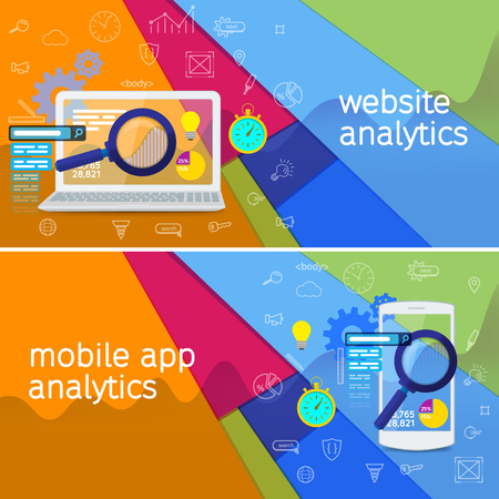 software design: SEO data analysis concept. Material design vector banner. Website analytics search information and computing data analysis using modern electronic and mobile devices. White laptop and phone. Illustration