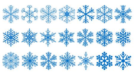 blue snowflakes: Set of Christmas snowflakes, blue on white background