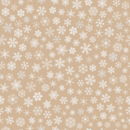 blizzards: Christmas seamless pattern of small snowflakes, white on light brown Illustration