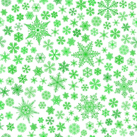 blizzards: Christmas seamless pattern of small and big snowflakes, green on white Illustration