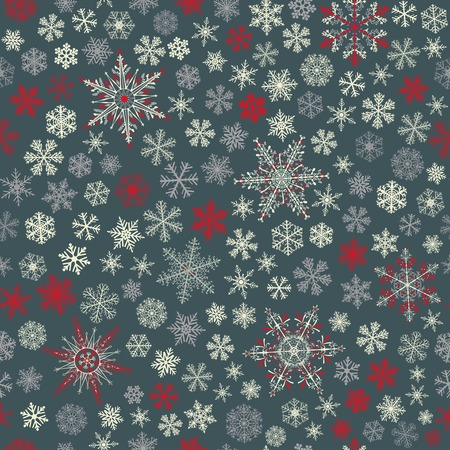 big and small: Christmas seamless pattern of small and big snowflakes, white, red and gray on dark gray