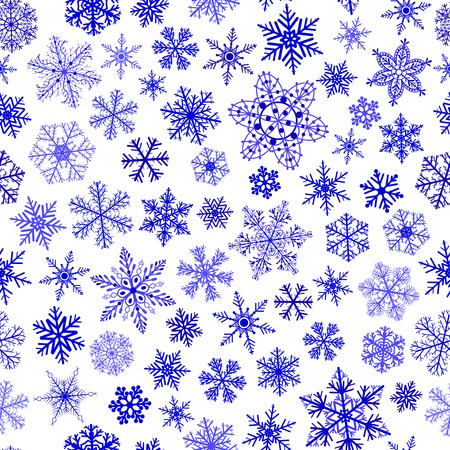 big and small: Christmas seamless pattern of small and big snowflakes, blue on white Illustration
