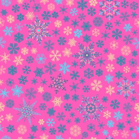 big and small: Christmas seamless pattern of small and big snowflakes, blue, light blue and yellow on pink