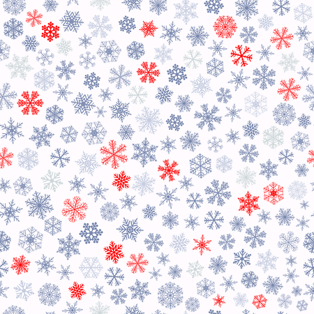 blizzards: Christmas seamless pattern of small snowflakes, red and gray on white
