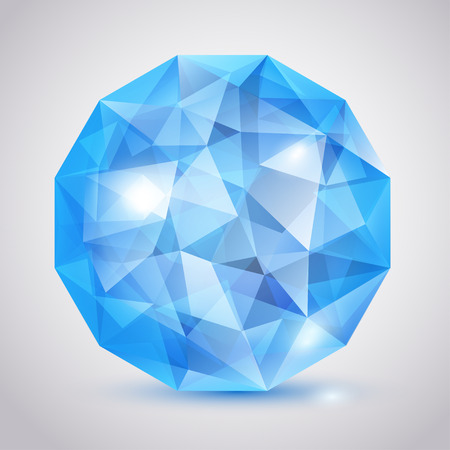 Big blue crystal in the shape of sphere with glares and shadow