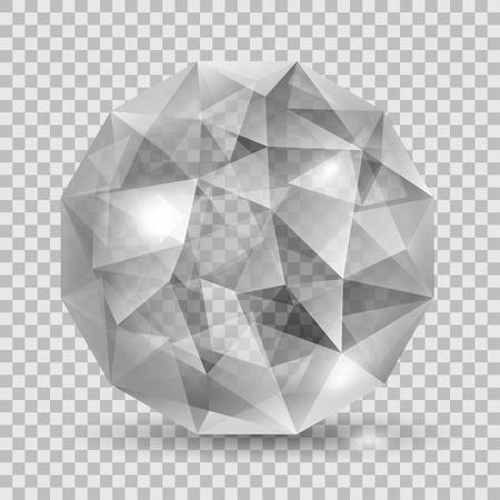cristal translucide gris en forme de sphère avec des éclats et ombre