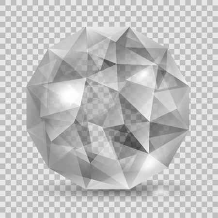 Gray translucent crystal in the shape of sphere with glares and shadow