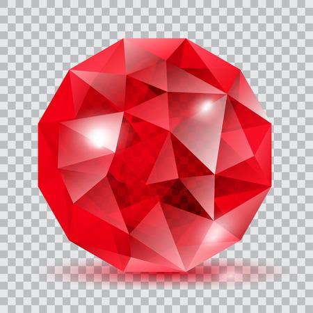 cristal translucide rouge en forme de sphère avec des éclats et ombre Vecteurs