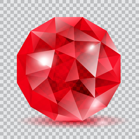 gemstone: Red translucent crystal in the shape of sphere with glares and shadow