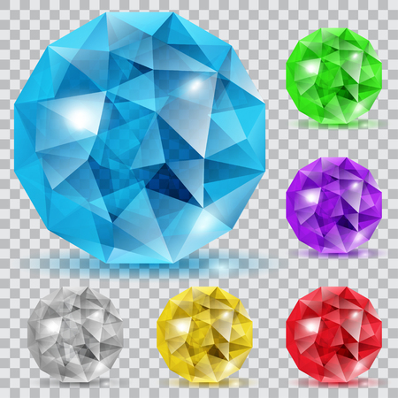 Set of translucent gems in the shape of spheres in various colors Illustration