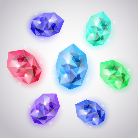 Set of crystals in various colors with glares and shadows Illustration