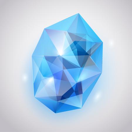 zafiro: cristal azul con brillos y sombras Vectores