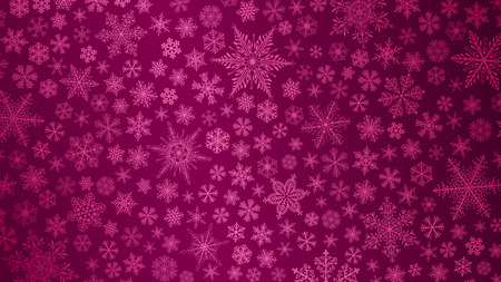 crimson: Christmas background of big and small snowflakes in crimson colors