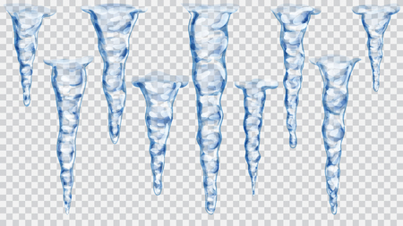 Set of translucent blue icicles on transparent background. Transparency only in vector file