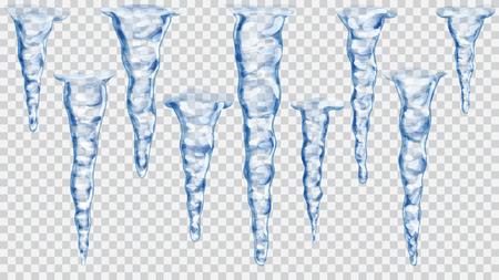 Set van doorschijnende blauwe ijspegels op transparante achtergrond. Transparantie alleen in vector-bestand